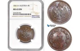AC857, Austria, Franz Joseph, 4 Kreuzer 1861-A, Vienna, NGC MS65BN, Pop 1/0
