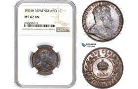AC858, Canada, Newfoundland, Edward VII, 1 Cent 1904-H, Heaton, NGC MS62BN