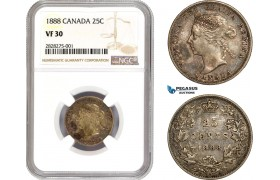 AC859, Canada, Victoria, 25 Cents 1888, Silver, NGC VF30