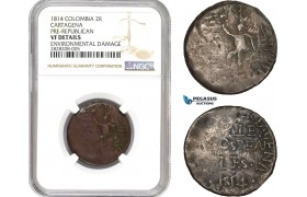 "AC862, Colombia, Cartagena, Pre-Republican, 2 Reales 1814 ""Normal 4"" NGC VF Det. Rare!"