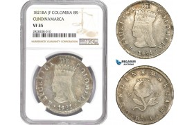 AC863, Colombia, Pre-Rebublican, 8 Reales 1821 Ba JF, Cundinamarca, Silver, NGC VF35