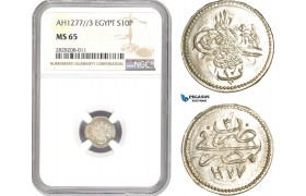 AC864, Ottoman Empire, Egypt, Abdul Aziz, 10 Para AH1277/3, Misr, Silver, NGC MS65, Pop 8/0