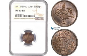 AC865, Ottoman Empire, Egypt, Abdul Hamid II, 1/40 Qirsh AH1293/10, Misr, NGC MS63BN