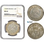 AC867, France, Louis XIV, 1/2 Ecu 1694-M, Toulouse, Silver, NGC MS62, Pop 1/0