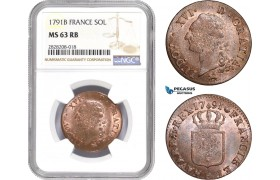 AC868, France, Louis XVI, 1 Sol 1791-B, Rouen, NGC MS63RB, Pop 2/0