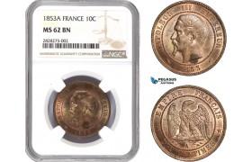 AC869, France, Napoleon III, 10 Centimes 1853-A, Paris, NGC MS62BN