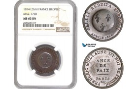 AC870, France & Germany, Essai 2 Francs Module 1814, Bronze, Maz-772B, NGC MS63BN (Prooflike)