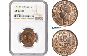 AC872, Greece, George I, 5 Lepta 1869-BB, Strasbourg, NGC MS63RB