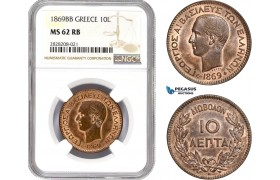AC873, Greece, George I, 10 Lepta 1869-BB, Strasbourg, NGC MS62RB