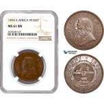 AC884, South Africa (ZAR) 1 Penny 1894, Pretoria, NGC MS61BN