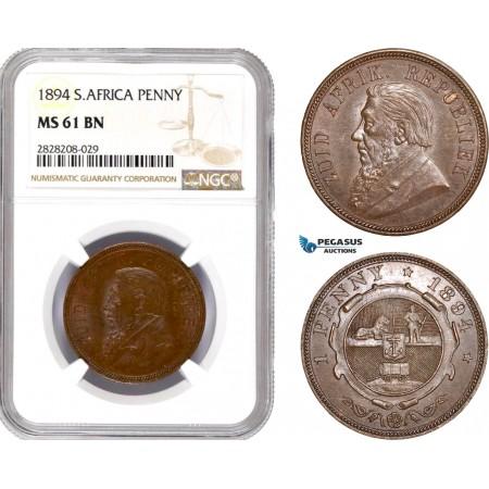 AC884, South Africa (ZAR) 1 Penny 1894, Pretoria, NGC MS61BN