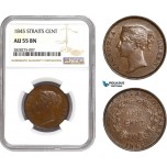 AC885, Straits Settlements, Victoria, 1 Cent 1845 No WW, NGC AU55BN
