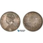 AC890, India (British) Victoria, Rupee 1887-C, Calcutta, Silver, Toned AU-UNC (Light hairlines)