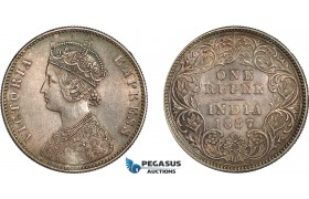 AC890, India (British) Victoria, Rupee 1887-C, Calcutta, Silver, Toned AU-UNC (Light hairlines)