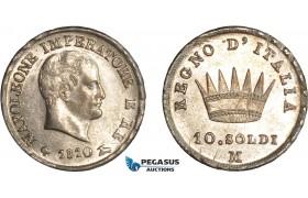 AC891, Italy, Kingdom of Napoleon, 10 Soldi 1810-M, Milan, Silver, Toned aUNC