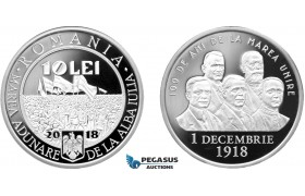 "AC892, Romania, 10 Lei 2018 ""Great Union 100 Years Anniversary"" Low mintage of 200, Proof"