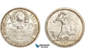 AC897, Russia (USSR) 50 Kopeks 1926 PD, Leningrad, Silver, Toned AU (Light Hairlines)