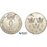 AC900, Sweden, Karl XI, 5 Öre 1691, Stockholm, Silver (3.80g) Some flaws, aXF