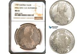 AC901, Austria, Maria Theresia, Taler 1759, Hall, Silver (Eyp. 79 var.) NGC MS61