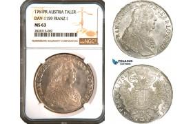 AC902, Austria, Franz I. Stephan,  Taler 1761 PR, Prague, Silver, NGC MS63