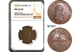 AC903, Austria, Franz II, 1 Kreuzer 1812-B, Kremnitz, NGC MS63BN, Pop 1/0