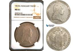 AC904, Austria, Franz II, Taler 1823-G, Nagybanya, Silver, NGC MS61, Pop 1/0