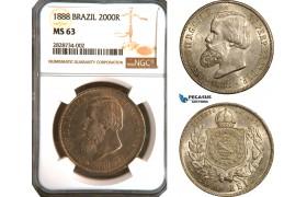 AC906, Brazil, Pedro II, 2000 Reis 1888, Silver, NGC MS63