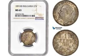 AC908, Bulgaria, Ferdiand I, 1 Lev 1891-KB, Kremnitz, Silver, NGC MS63, Pop 2/1