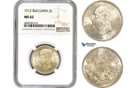 AC910, Bulgaria, Ferdiand I, 2 Leva 1912, Silver, NGC MS62