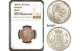 AC915, Denmark, Christian IX, 1 Krone 1898, Copenhagen, Silver, NGC MS64