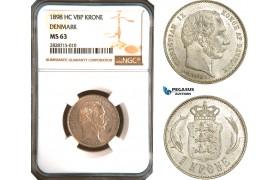 AC916, Denmark, Christian IX, 1 Krone 1898, Copenhagen, Silver, NGC MS63