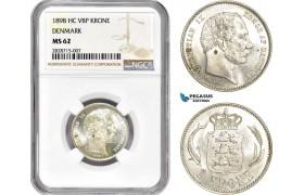 AC917, Denmark, Christian IX, 1 Krone 1898, Copenhagen, Silver, NGC MS62