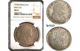 AC921, France, Louis XV, Ecu 1719-K, Bordeaux, Silver, Gad. 318 (R2) NGC MS61, Pop 1/1