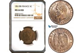 AC925, France, Napoleon III, 5 Centimes 1861-BB, Strasbourg, NGC MS64RB, Pop 3/1