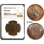 AC926, France, Napoleon III, 10 Centimes 1852-A, Paris, NGC MS64RB
