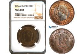 AC926, France, Napoleon III, 10 Centimes 1852-A, Paris, NGC MS64RB