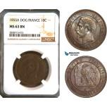 AC927, France, Napoleon III, 10 Centimes 1855-A (Dog) Paris, NGC MS63BN, Pop 2/0