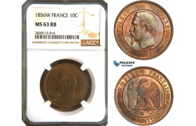 AC928, France, Napoleon III, 10 Centimes 1856-W, Lille, NGC MS63RB, Pop 1/0