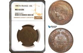 AC929, France, Third Republic, 10 Centimes 1887-A, Paris, NGC MS64BN, Pop 4/1