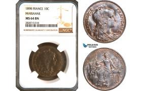 AC930, France, Third Republic, 10 Centimes 1898 (Marianne) NGC MS64BN