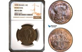 AC931, France, Third Republic, 10 Centimes 1898 (Marianne) NGC MS63BN