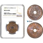 AC934, French Indo-China, 1 Centime 1897-A, Paris, NGC MS64BN