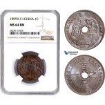 AC935, French Indo-China, 1 Centime 1899-A, Paris, NGC MS64BN