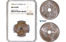 AC936, French Indo-China, 1 Centime 1901-A, Paris, NGC MS64BN