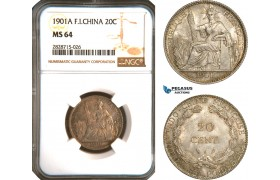AC937, French Indo-China, 20 Centimes 1901-A, Paris, Silver, NGC MS64