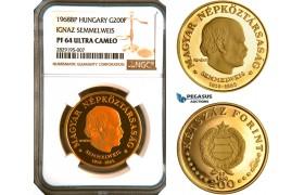 "AC939, Hungary, ""Semmelweis"" 200 Forint 1968-BP, Budapest, Gold, NGC PF64 Ultra Cameo"
