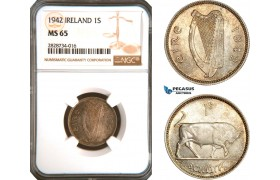 AC940, Ireland, 1 Shilling 1942, Silver, NGC MS65