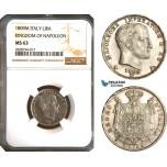 AC941, Italy, Kingdom of Napoleon, 1 Lira 1809-M, Milan, Silver, NGC MS63, Pop 2/0