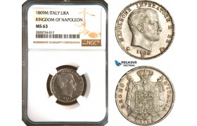 AC941, Italy, Kingdom of Napoleon, 1 Lira 1809-M, Milan, Silver, NGC MS63, Pop 2/0