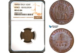 "AC942, Italy, Venice ""Revolution"" 1 Centesimo 1849 ZV, NGC MS65BN, Pop 4/0"